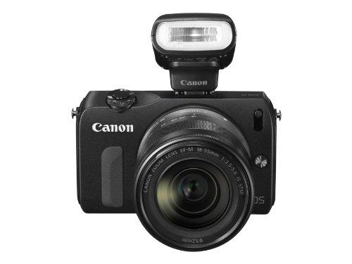 Imagen principal de CANON M negra + objetivo EF-S 18-55 mm IS + flash Speedlite 90EX