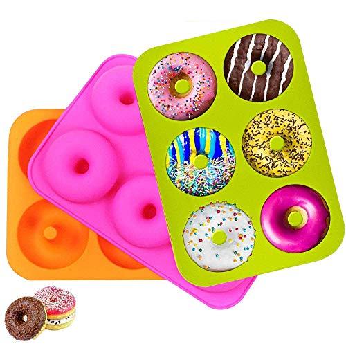 Imagen principal de 3 piezas Silicone Donut Moldes con 6 Cavidad para Pasteles, Galletas,