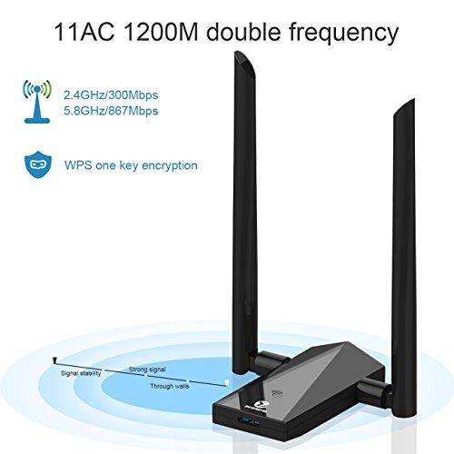 Imagen principal de Zoweetek® Adaptador WiFi AC 1200 Receptor WiFi Inalámbrico Dual Band