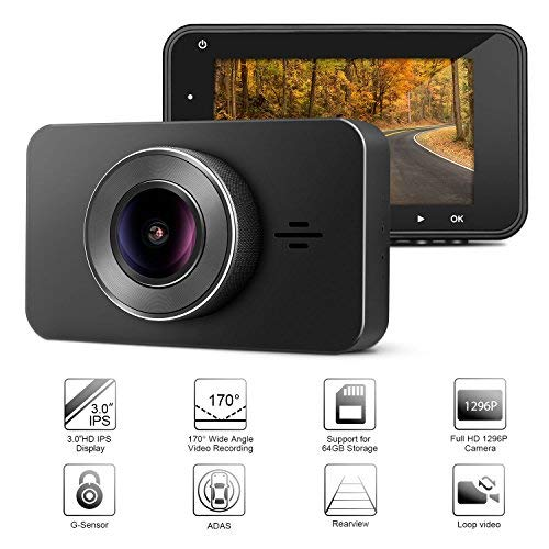 Imagen principal de Car Driving Recorder, Panlelo D3 Car Dash Camera 170° Wide Angle Moto