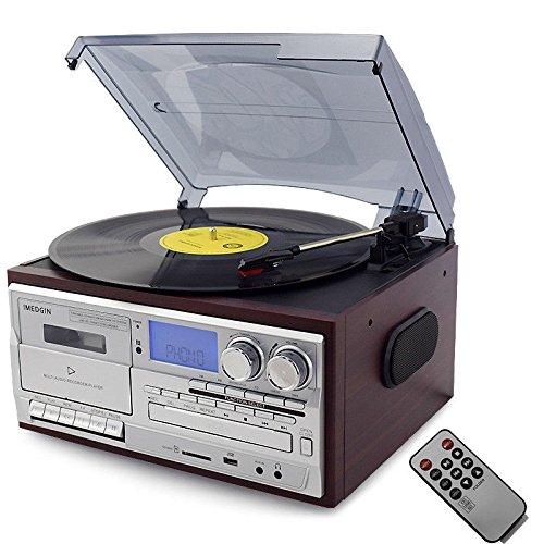 Imagen principal de Bluetooth Tocadiscos LP Vinilo Record Reproductor CD/Cassette/Radio/US